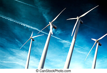 powerful and ecological energy concept Industrial Eolic...