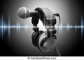 music and recorder concept - microphone and headphones....