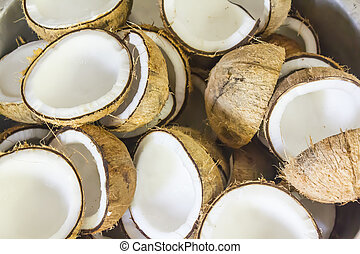 Fresh Coconuts - Group of fresh coconuts