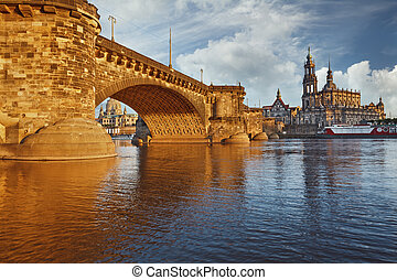 Dresden. - Image of Dresden, Germany with Albert Bridge...