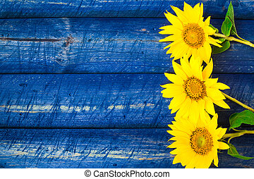 Yellow sunflowers painted fence - Yellow sunflowers on a...