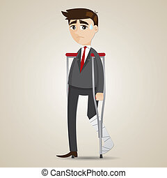 cartoon broken leg businessman with crutch - illustration of...