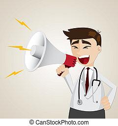 caricatura, doctor, Utilizar, megáfono