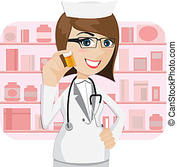 cartoon girl pharmacist showing medicine bottle -...