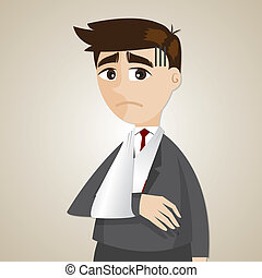 cartoon businessman broken arm