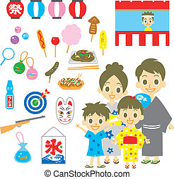 summer festival in Japan, family, vector set