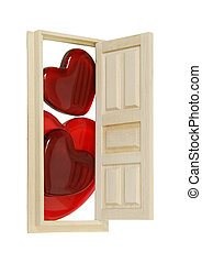 Love Knocks - Wooden interior door with five panels used to...