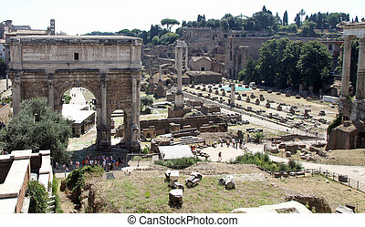 Rome, bird's-eye view of the ancient Fori imperiali with the...