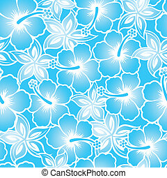 Hibiscus tropical blue gradient seamless pattern
