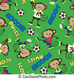 Soccer rules monkey seamless pattern on a green background