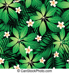 Tropical frangipani seamless pattern with palm leaves