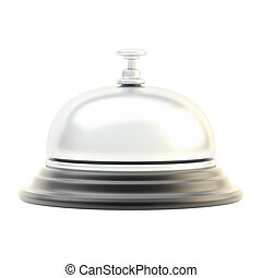 Hotel reception bell isolated - Hotel silver reception bell...