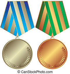 Silvery and bronze medals with striped ribbons vector
