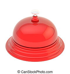 Hotel reception bell isolated - Hotel reception red glossy...