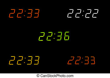 Digital clock show various times on the black background