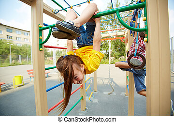 Agility - Portrait of little girl on playground area