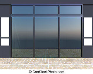 Shopfront with windows - Modern empty shop window with...