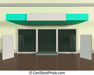 Shopfront with windows and signboard colorful store