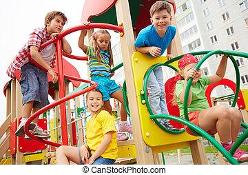 Friends at leisure - Image of joyful friends having fun on...