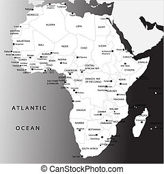 Political map of Africa - Black and white Political map of...
