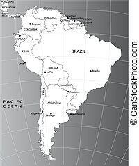Political map of South America - Black and white Political...