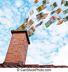 euro money flies down the chimney - a lot of euros flies...