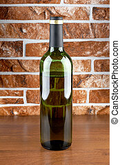 Bottle and wall - Wine bottle and glass on brick wall...