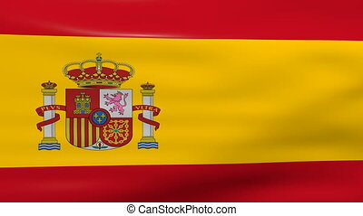 Waving Spain Flag, loop ready.
