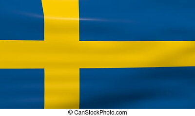 Waving Sweden Flag, loop ready - Waving Sweden Flag, ready...