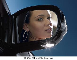 ansikte,  rear-view, spegel