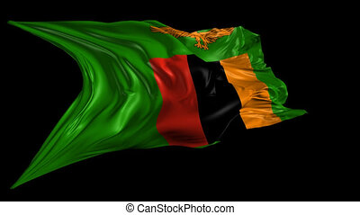 Flag of Zambia - Beautiful 3d animation of Zambia flag with...