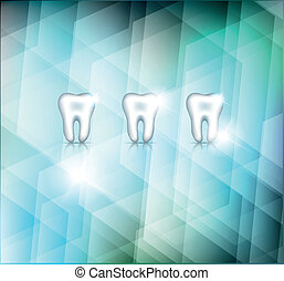 Beautiful white teeth on a abstract blue background