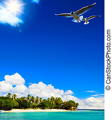 art Beautiful tropical sea landscape with a view at palms on...