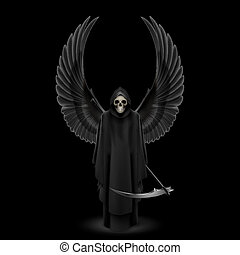 Angel of Death - Grim Reaper with two wings up over black...
