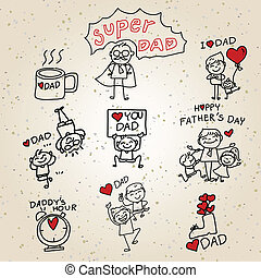 Happy Father's Day cartoon hand drawing - Happy Father's Day...