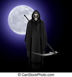 Grim Reaper - Terrifying Grim Reaper over full moon...