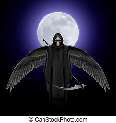 Angel of death - Grim Reaper with huge wings over full moon...