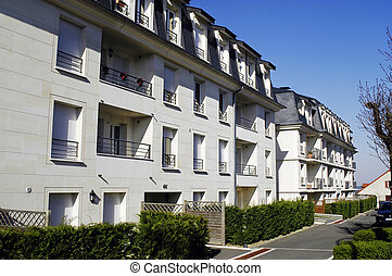 nine buildings in the Paris region with row of street...