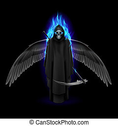 Angel of death - Grim Reaper with wings and blue flame