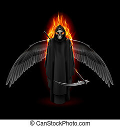 Angel of death - Grim Reaper with wings and orange flame