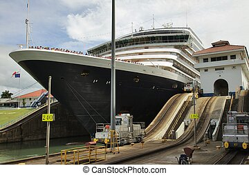 Detail of cruise ship in Lock, Panama Canal