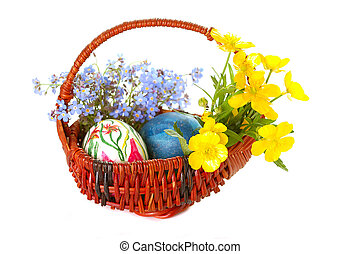 Easter eggs - Easterbasket with painted eggs and spring...