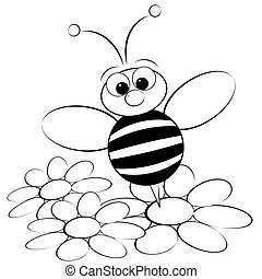 Coloring page - Bee and daisy - Kids illustration with ant...