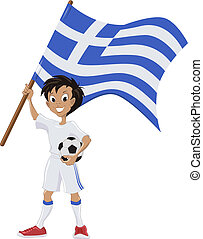 Happy soccer fan holds Greece flag. Illustration in vector...