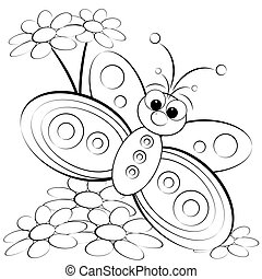 Coloring page - Butterfly and daisy - Kids illustration with...