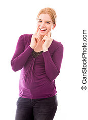 Young woman showing smiley face - Young adult caucasian...
