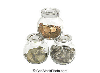 coins in jar with saving, retirement plan