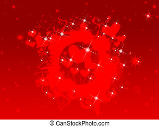 Valentine Background - Abstract Decorative Red Hearts...