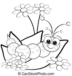 Coloring page - Grub and flowers - Kids illustration with...