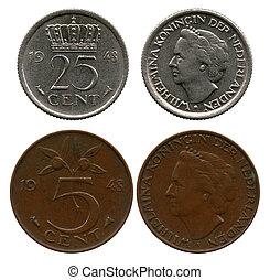 Veinte, cinco, cinco, centavos, países bajos, reina,...